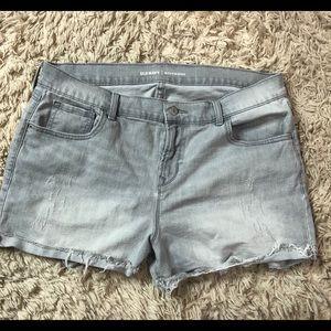 Grey/Blue Distressed Boyfriend Jean Shorts - 16